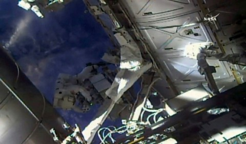 Veteran spacewalkers Ricky Arnold and Drew Feustel are checking