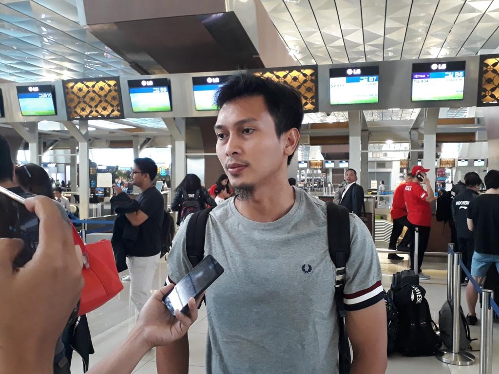 Mohammad Ahsan saat bersiap menuju Bangkok untuk memperkuat Indonesia di ajang Thomas-Uber 2018 (Foto: medcom.id/Patrick Pinaria)