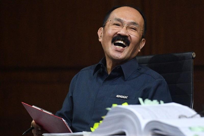 Terdakwa perkara merintangi penyidikan kasus korupsi kartu tanda penduduk berbasis elektronik (KTP-el) Fredrich Yunadi. ANT/Sigid Kurniawan.