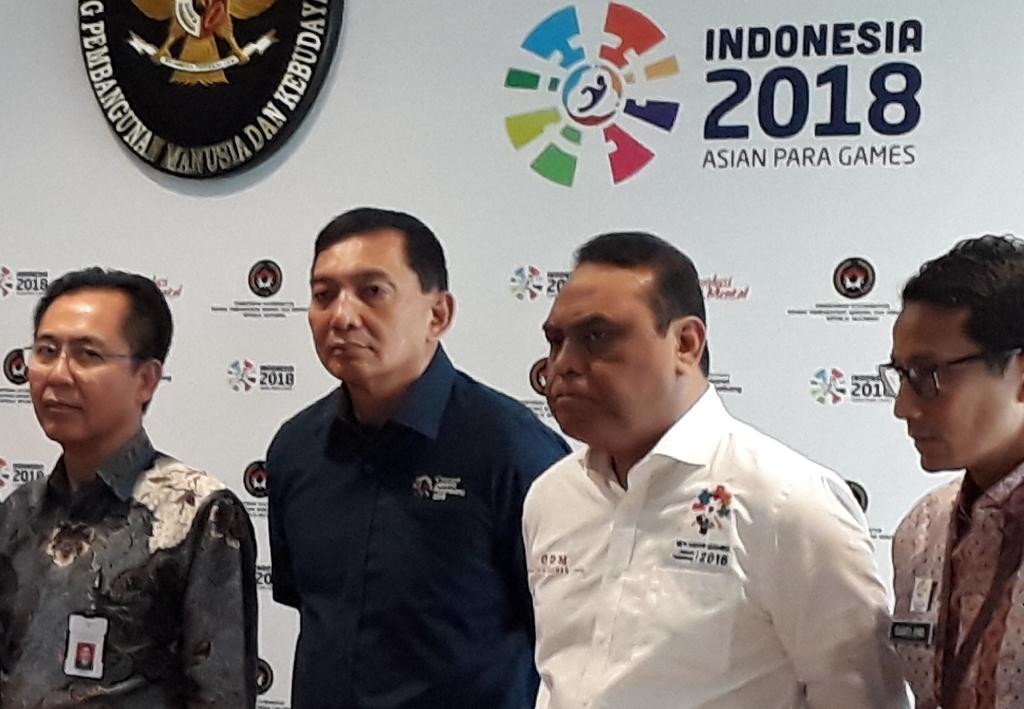 Dari kiri: Winarto (Dirut GBK), Sjafrie Sjamsoeddin (Wakil Ketua INASGOC), Komjen Pol. Syafruddin (CdM Indonesia), dan Wagub DKI, Sandiaga Uno. (Foto: medcom.id/Patrick Pinaria)