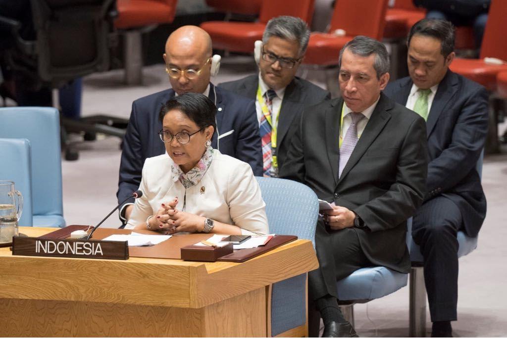 Menlu RI Retno Marsudi di DK PBB, New York, AS. (Foto: Dok. Kemlu RI)