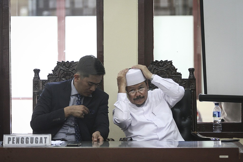 Majelis Hakim PTUN menolak gugatan yang diajukan HTI.  Foto: Antara/Dhemas Reviyanto.