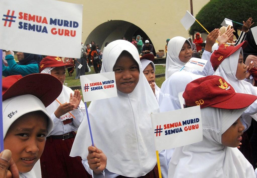 Ilustrasi-- Sejumlah siswa mengikuti acara Pesta Pendidikan 2018 di Benteng Rotterdam, Makassar, Sulawesi Selatan. (Foto: ANTARA/Abriawan Abhe)