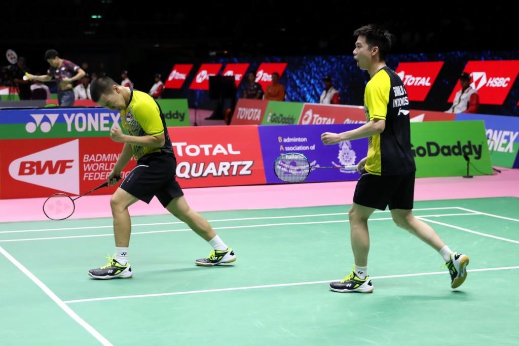 Marcus/Kevin saat menyumbang poin melawan Malaysia  (Foto: PBSI)