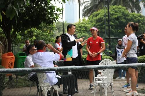 Menpora Imam Nahrawi memantau persiapan atlet olahraga tenis di