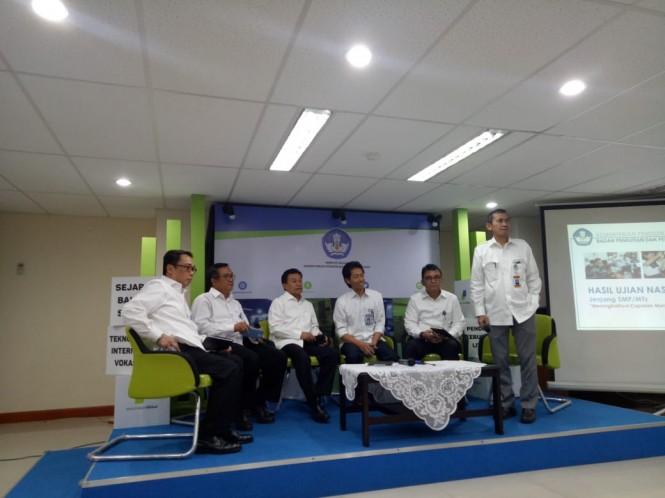 Konferensi Pers Hasil Ujian Nasional (UN) jenjang SMP 2018.  Foto:Medcom.id/Intan Yunelia