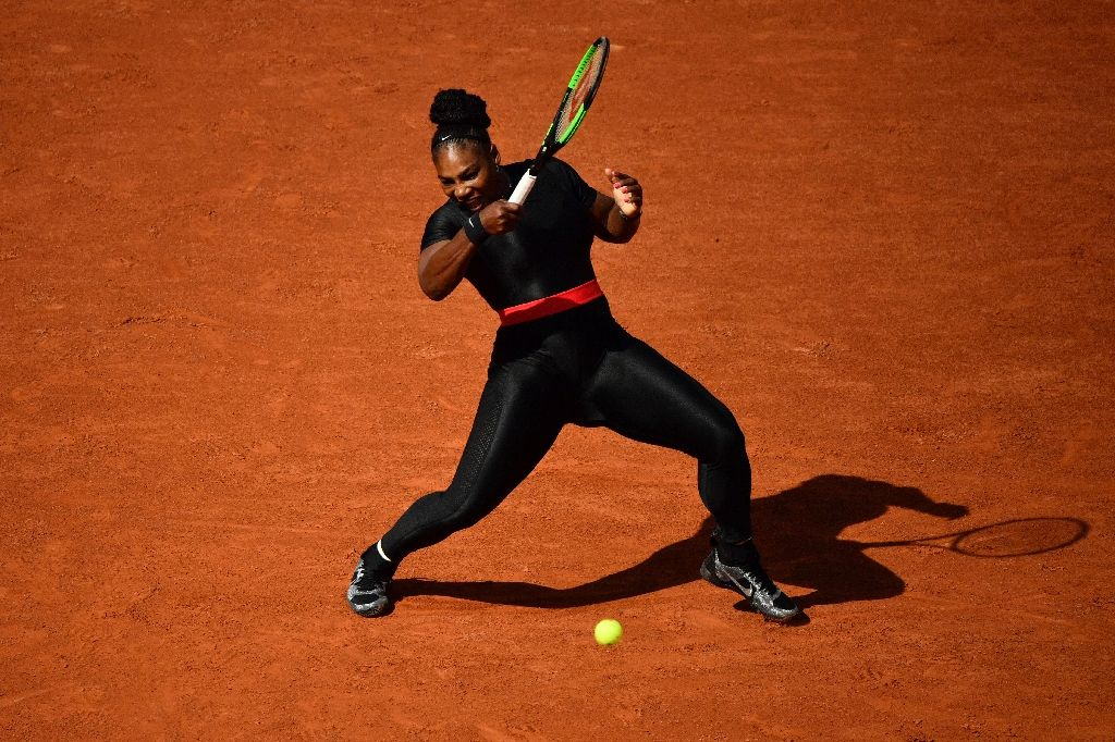 Power ranger: Serena Williams on her way to victory on Tuesday. (Photo:AFP/Christophe Simon)