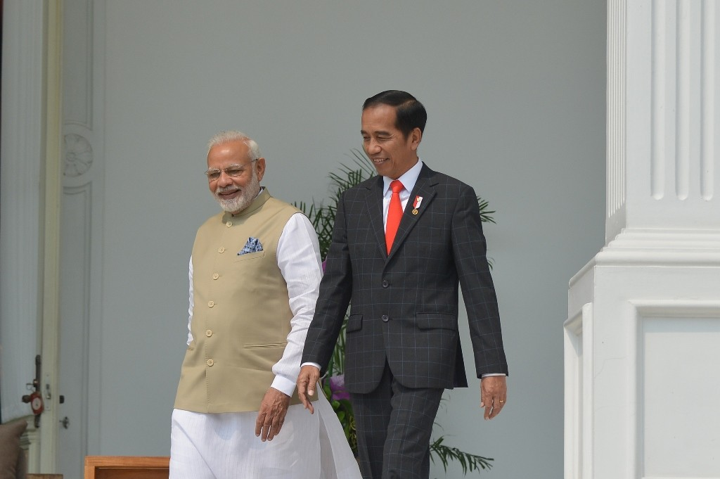 PM Narendra Modi ketika diterima Presiden RI Jpko Widodo di Istana Negara. (Foto: ANTARA)