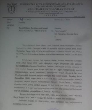 Lurah Cilandak Barat Revisi Edaran Zakat Rp1 Juta Per RT