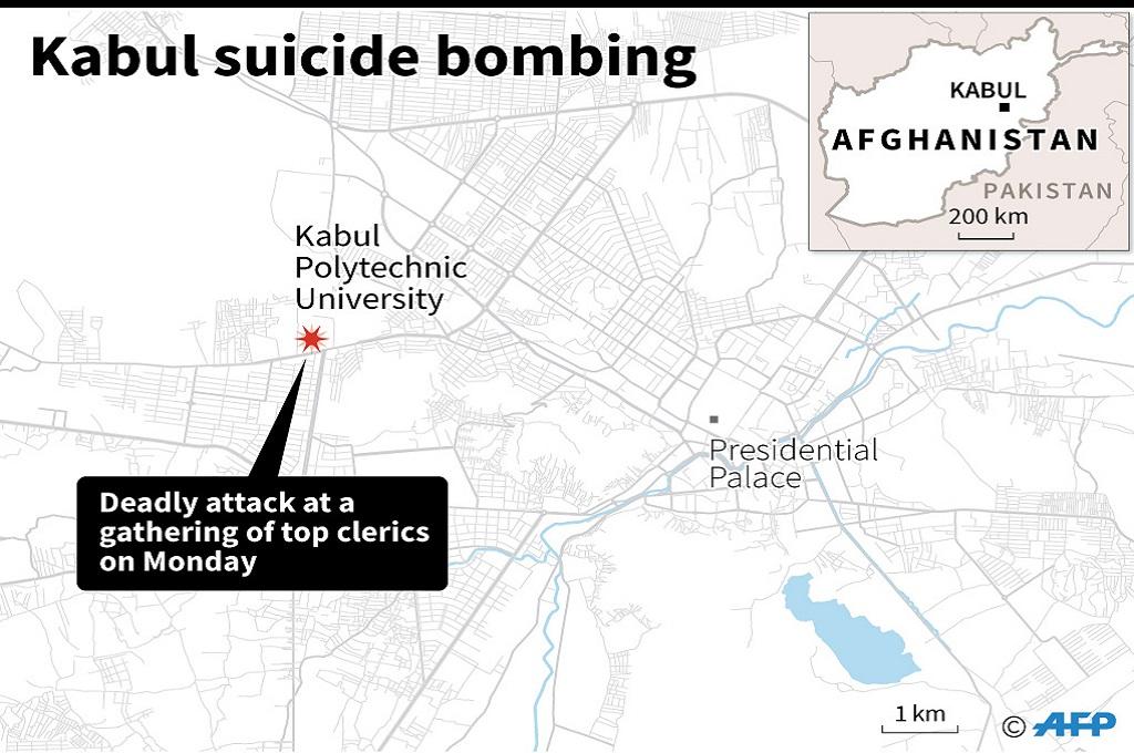 Grafik lokasi serangan bom bunuh diri di Kabul, Afghanistan, 4 Juni 2018. (Foto: AFP)