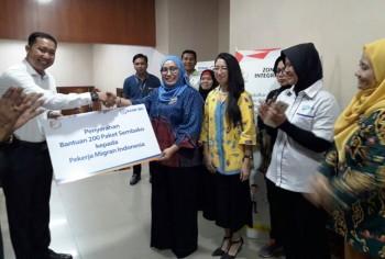 BNP2TKI Fasilitasi Pembagian Sembako oleh BRI kepada PMI Purna