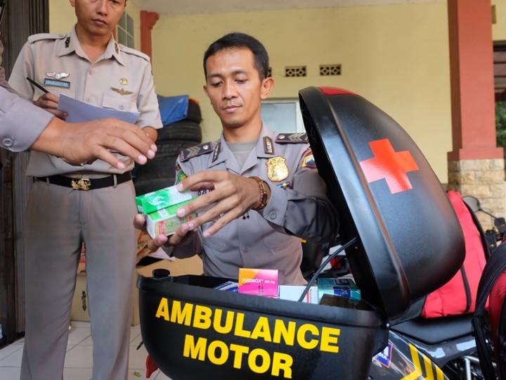 Ambulans Motor Polda Jateng untuk Pertolongan Pertama Pemudik
