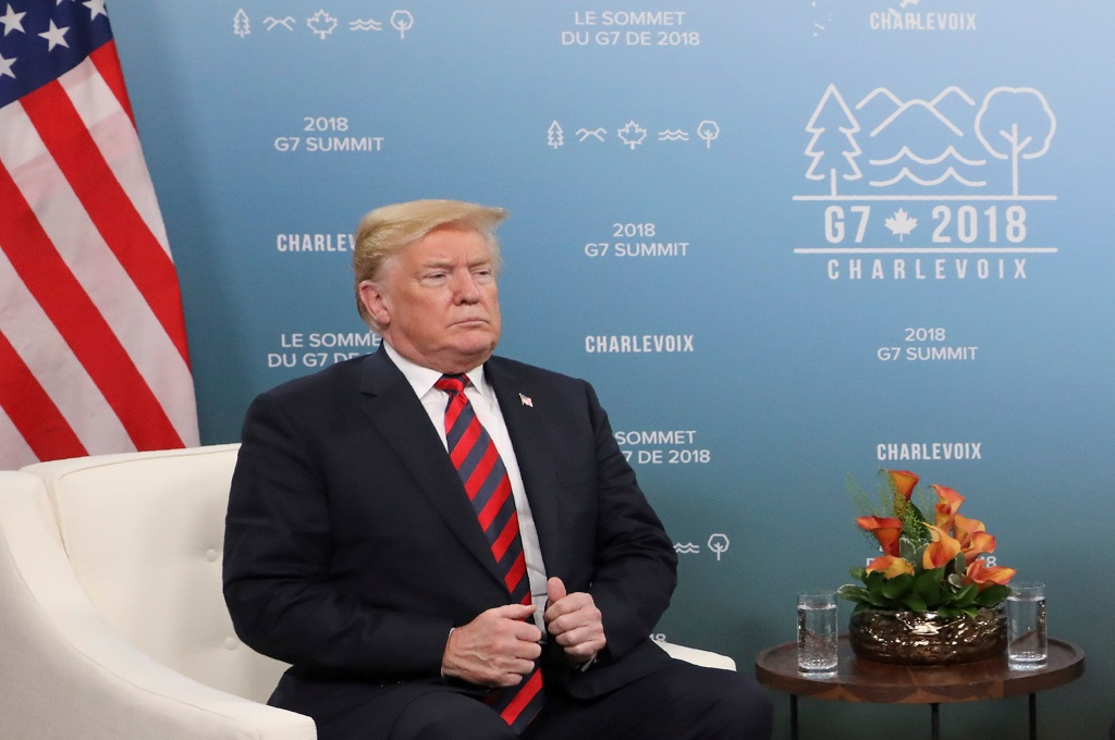 Presiden AS Donald Trump dalam KTT G7 di Quebec, Kanada, 8 Juni 2018. (Foto: AFP/LUDOVIC MARIN)
