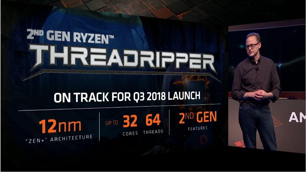 Presentasi AMD untuk prosesor AMD Threadripper 2 di Computex 2018 Taipei, Taiwan.