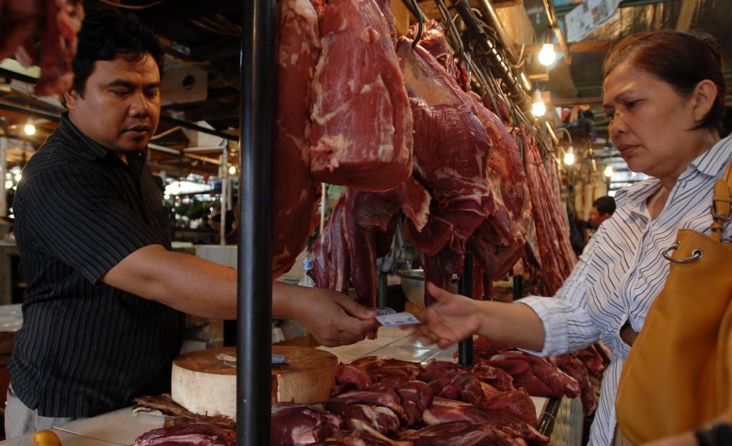 Ilustrasi penjual daging sapi. (Foto: Antara/Alviansyah).