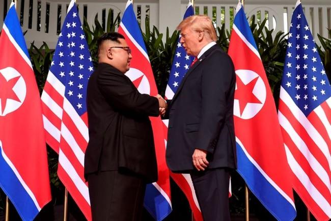 Presiden AS Donald Trump dan  Pemimpin Korea Utara (Korut) Kim Jong-un. AFP.