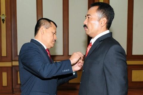 Brigjen Totok Sugiharto (kanan) saat sertijab menjadi Kapuskom