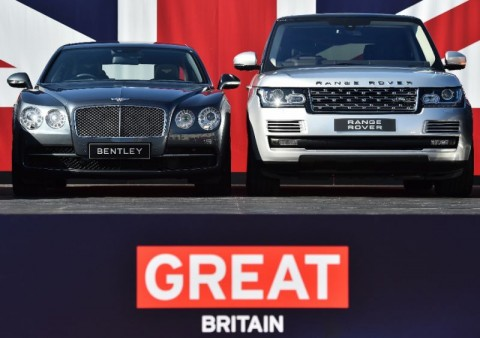 Two British built-cars, a Bentley Flying Spur and a Range Rover,