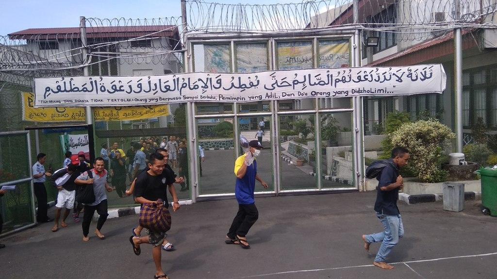 Para napi LP Narkotika Kelas IIA Yogyakarta saat simulasi bencana Gunung Merapi beberapa waktu lalu. Medcom.id-Ahmad Mustaqim