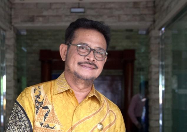 Mantan Gubernur Sulawesi Selatan Syahrul Yasin Limpo di Kantor Media Group, Kedoya, Jakarta Barat. Foto: MI/Permana.