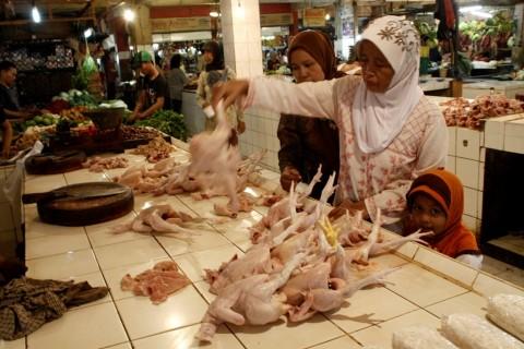Kios penjualan ayam di Pasar Agung, Sukmajaya, Depok, Jawa
