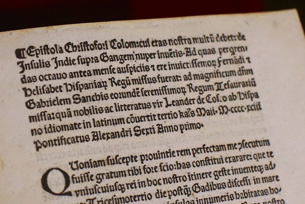 Salah satu lembar salinan surat Christopher Columbus