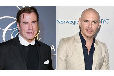 John Travolta (kiri) dan Pitbull (kanan) (Foto: Tara