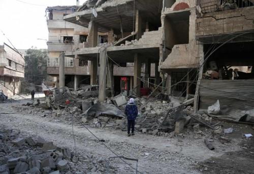 Kehancuran di Ghouta timur akibat serangan pihak pasukan