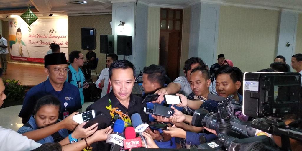 Menpora Imam Nahrawi saat menjelaskan terkait target medali Indonesia di Asian Games 2018 (Foto: medcom.id/Rendy Renuki H)