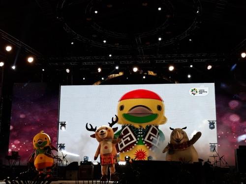 Maskot Asian Games 2018 di PRJ. (Foto: Medcom.id/ Marcheilla Ariesta).