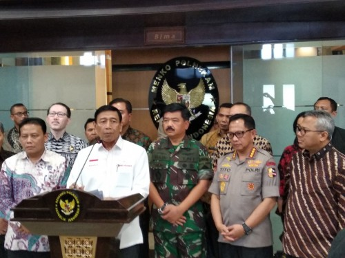 Menteri Koordinator Politik Hukum dan Keamanan (Menkopolhukam) Wiranto dan kementerian lembaga di bawahnya - Medcom.id/Muhammad Al Hasan.
