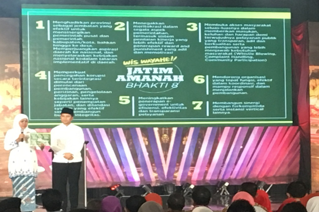 Paslon nomor urut 1 Khofifah-Emil menyampaikan visi dan misi dalam Debat Publik III Pilgub Jatim di Surabaya, Sabtu 23 Juni 2018, Medcom.id - Amaluddin