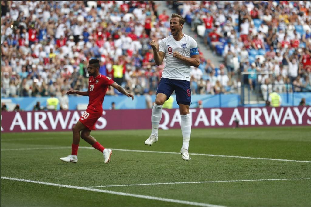 Harry Kane saat merayakan golnya ke gawang Panama (Foto: twitter timnas Inggris)