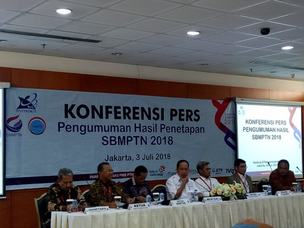 Jumpa Pers Pengumuman hasil SBMPTN 2018, di Gedung D Kemenristekdikti, Jakarta, Selasa, 3 Juli 2018, Medcom.id/Intan Yunelia.