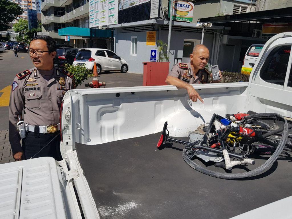 Kondisi sepeda yang ditunggangi Hary Pitrianto sudah diamankan kepolisian (Foto: Dok Istimewa)