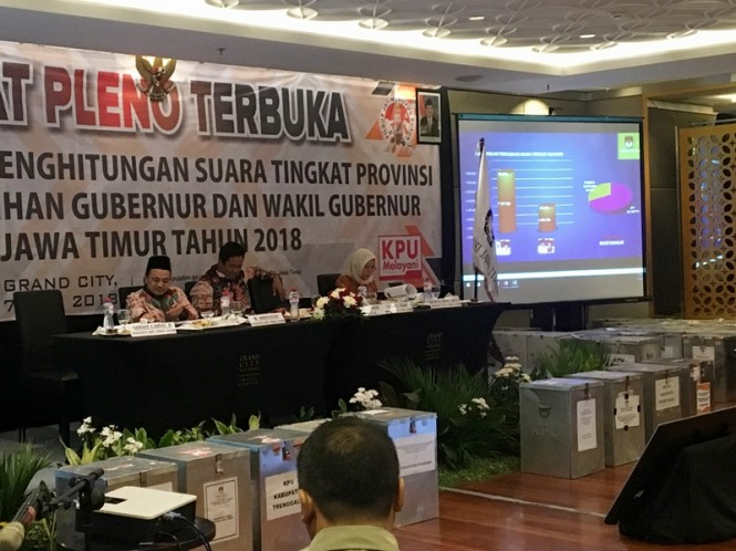 Proses rekapitulasi suara Pemilihan Gubernur (Pilgub) Jatim 2018 tingkat Provinsi. Medcom.id/Amaluddin