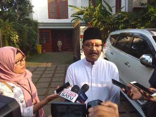Calon gubernur Jawa Timur Saifullah Yusuf usai menemui Ketua