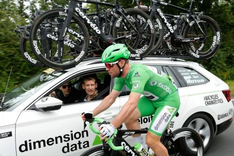 Tim Dimension Data di kompetisi balapan sepeda Tour De France.