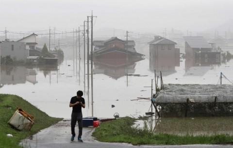 Banjir di Jepang. (Foto: JIJI PRESS).