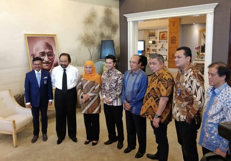 Khofifah Indar Parawansa-Emil Dardak menyambangi Kantor DPP Partai NasDem - Medcom.id/Arga Sumantri.