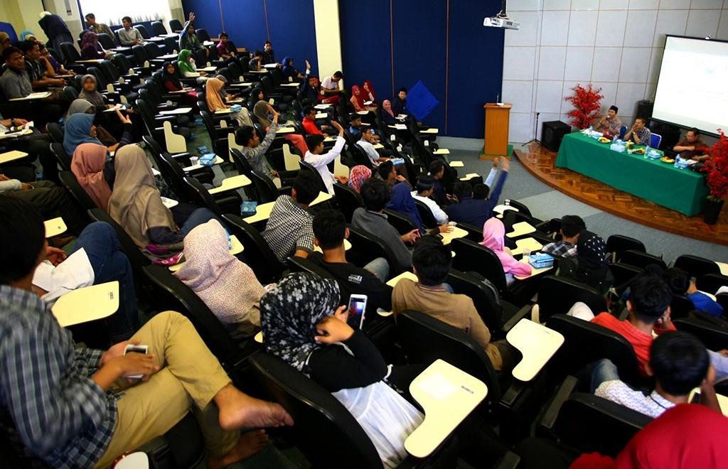 Suasana diskusi publik di auditorium UIN Syarief Hidayatullah, Jakarta, ANT/Muhammad Iqbal.