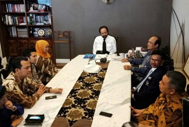 Gubernur dan Wagub terpilih Jatim Khofifah-Emil bertandang ke DPP NasDem/Medcom.id/Arga Sumantri