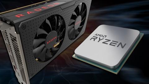 Kartu grafis AMD Radeon dan prosesor AMD Ryzen.