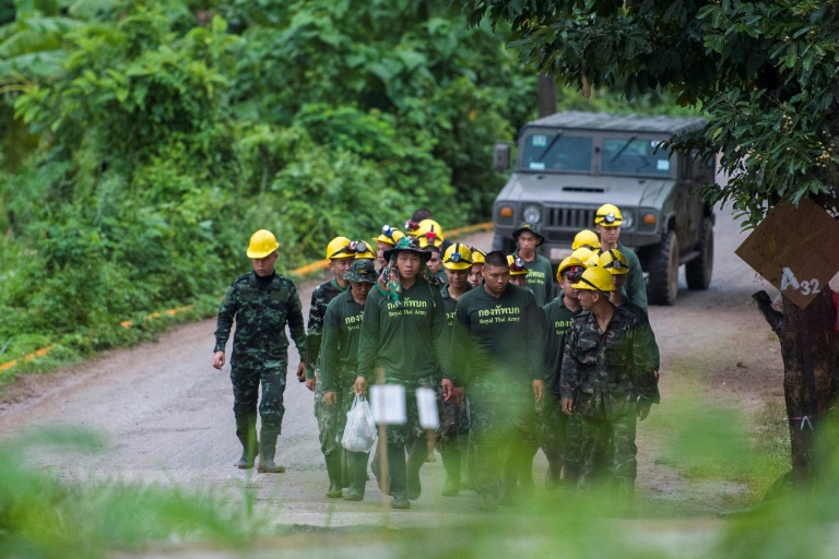 Eight of the trapped boys have been guided to safety from the twisting, submerged passages of the Tham Luang cave. (Photo:AFP/Ye Aung Thu)