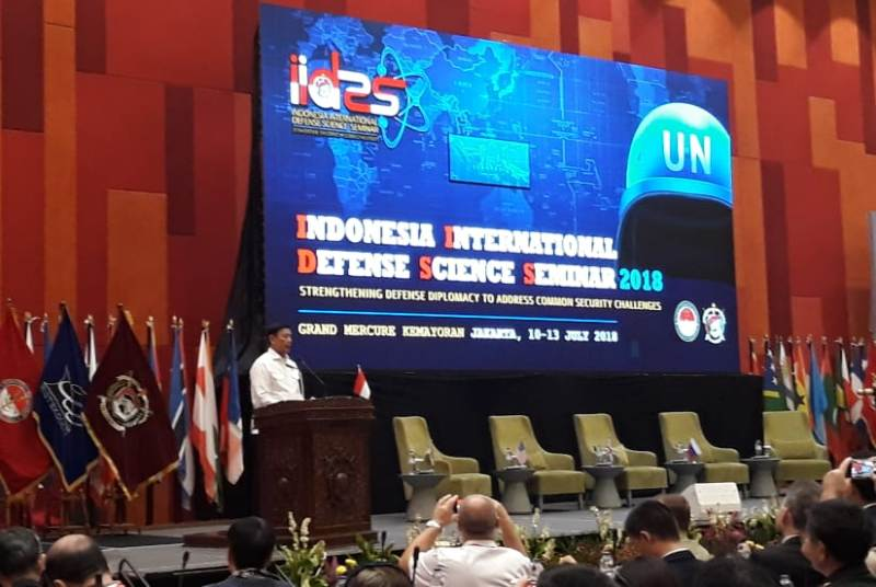 Menkopolhukam Wiranto dalam pembukaan Indonesia International Defense Science Seminar (IIDSS) 2018. (Foto: Marcheilla Ariesta).