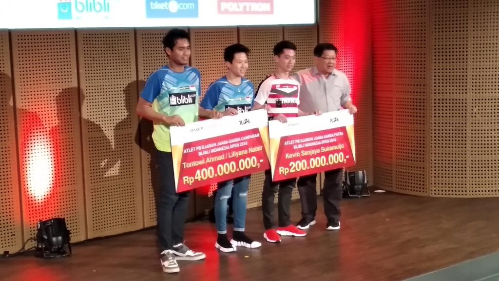 Suasana penyerahan bonus pemenang Indonesia Open 2018. (Foto: medcom.id/Rendy Renuki)