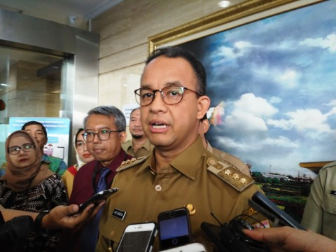 Gubernur DKI Jakarta Anies Baswedan di kantor BPK DKI. Foto: