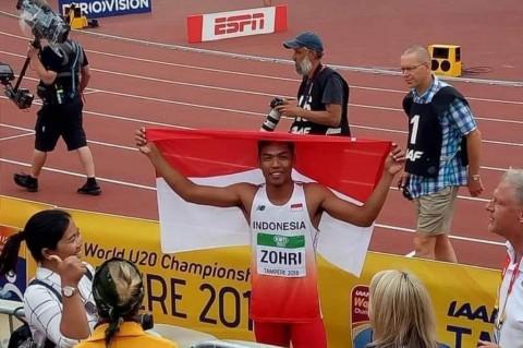 Lalu Muhammad Zohri seusai juara. (Foto: Kemenpora RI)
