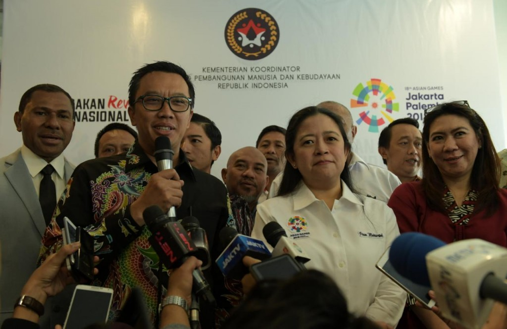 Menpora bersama Menko PMK menyatukan komitmen sukseskan Asian Games 2018. Foto: Dok. Kemenpora