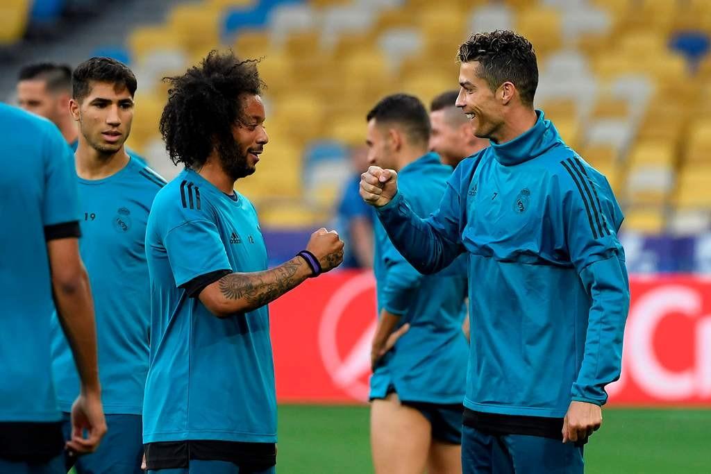 Marcelo dan Cristiano Ronaldo (Foto AFP/LLUIS GENE )